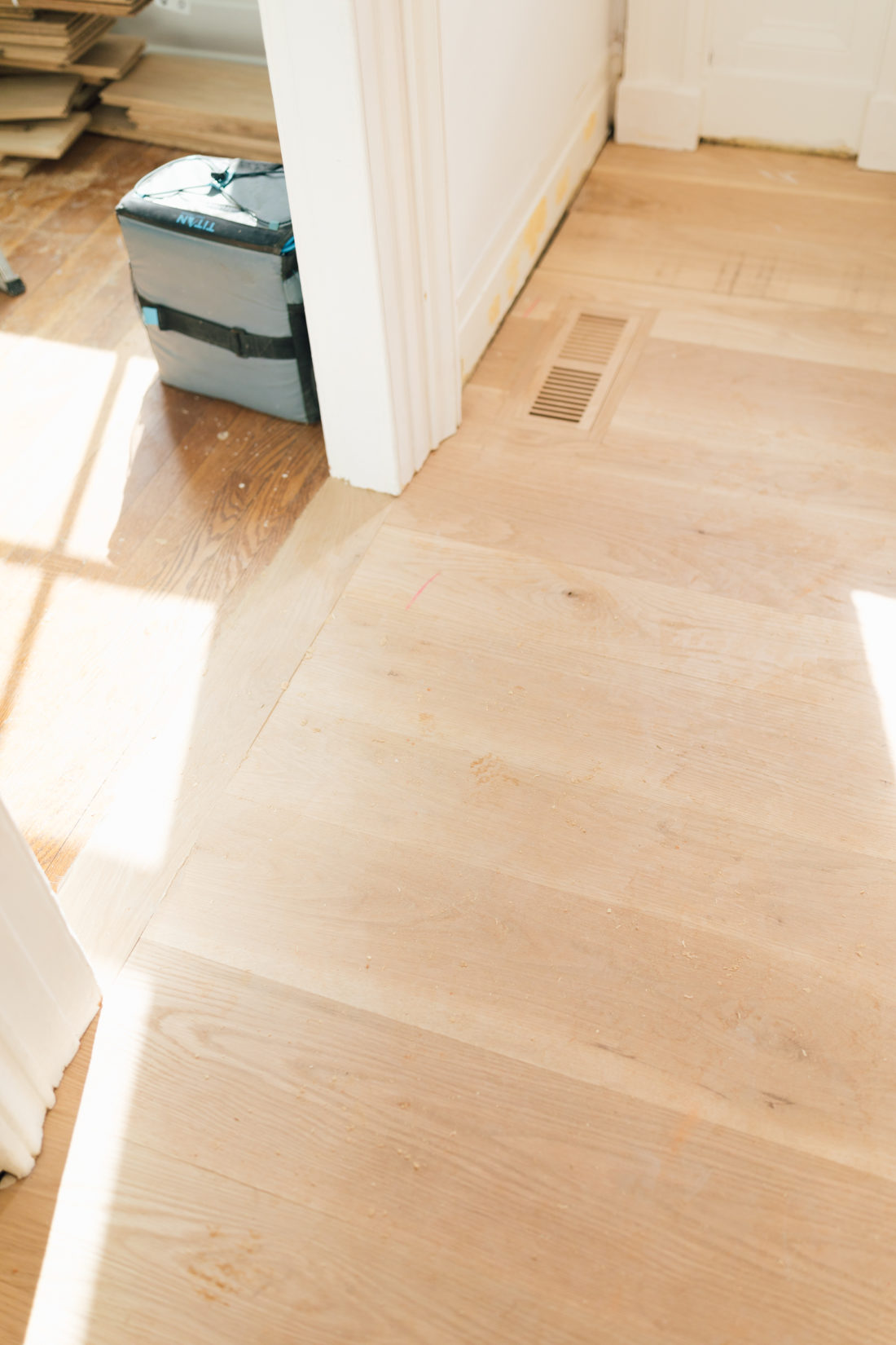 Eva Amurri Martino shows off the stripped floors during the renovation of her historic home.
