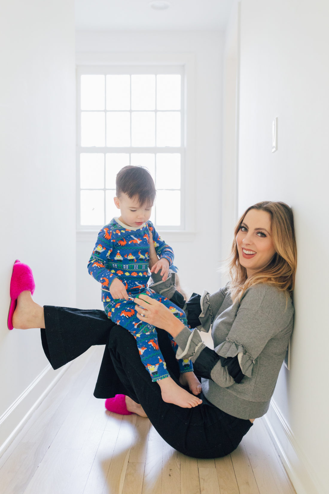 Eva Amurri Martino and her son Major wears printed pajamas while entertaining himself at home