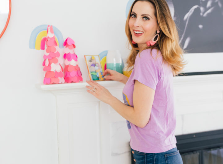 Eva Amurri Martino puts her finished DIY ombre trees on the mantle for display this valentine's day
