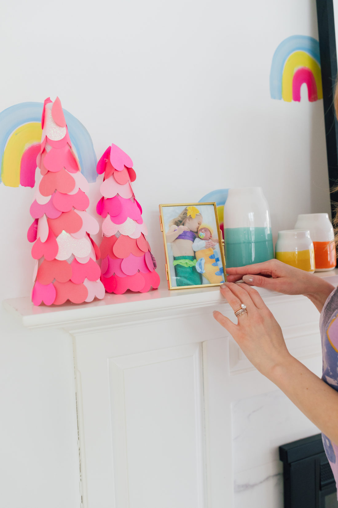 Eva Amurri Martino shares a DIY for Ombre heart trees as an easy craft for valentine's day