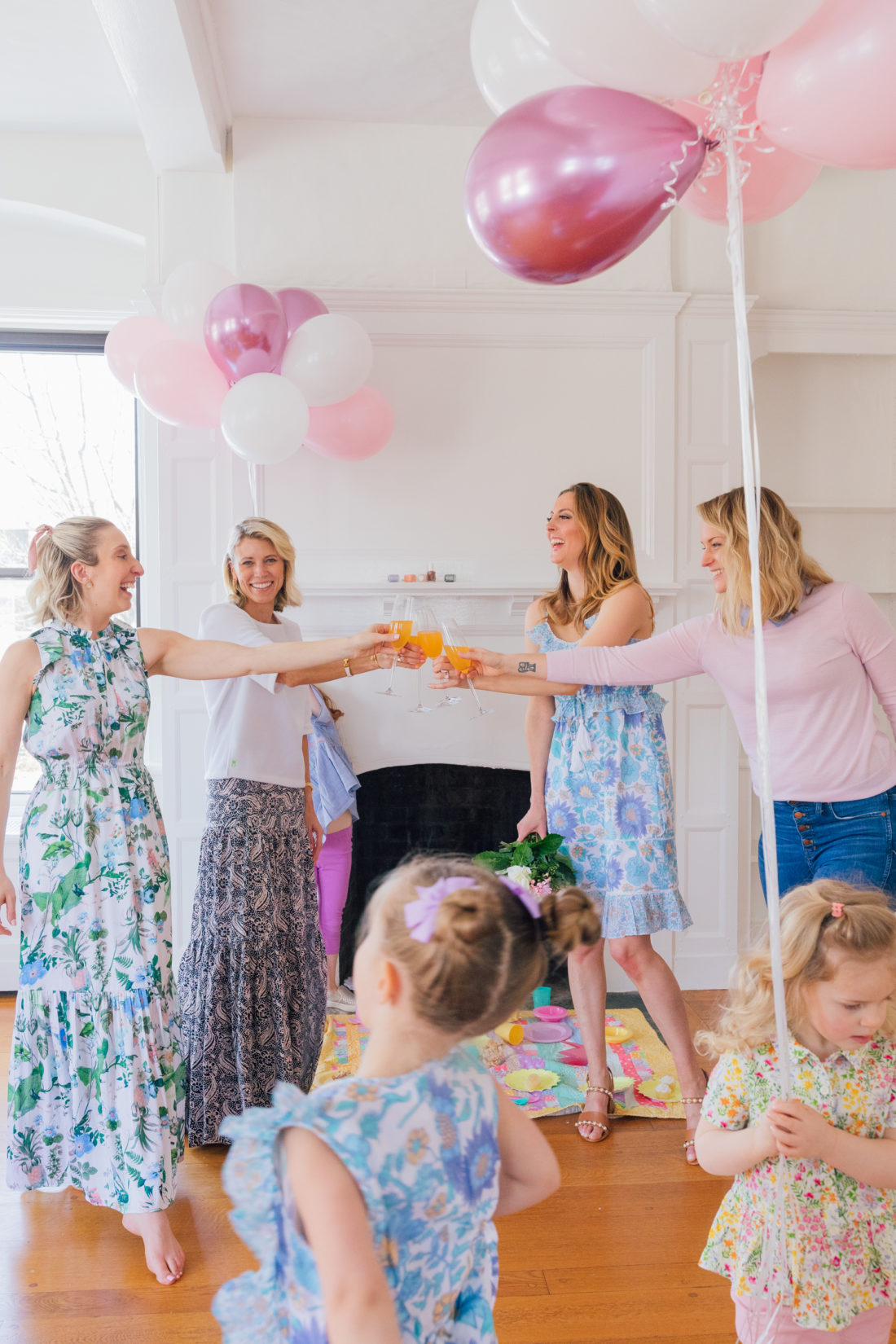 Eva Amurri Martino of Happily Eva After, Sarah, owner of Indigo Acupuncture + Wellness, Lauren, owner Dudley Stephens, and blogger Julia from Lemon Stripes throw a tea party for their daughters