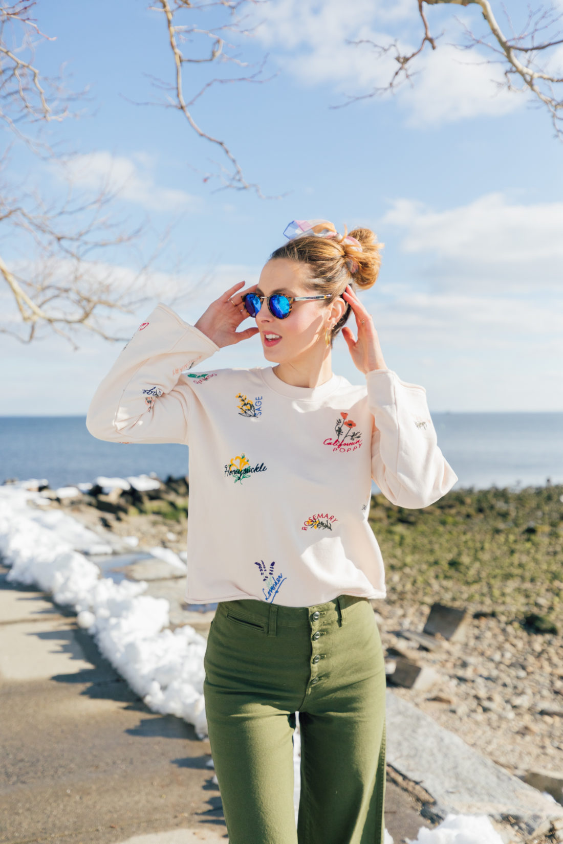 Eva Amurri Martino of Happily Eva After wears a kerchief bun in her hair and shares her favorite sunglasses for spring 2019