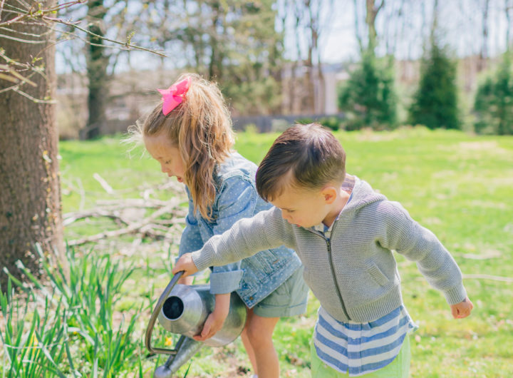 Eva Amurri Martino's daughter Marlowe and son Major water their garden in her spring style picks