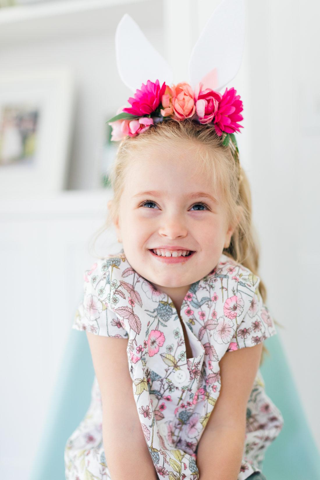 Eva Amurri Martino's daughter Marlowe wears her DIY Woodland Bunny Headband for Easter