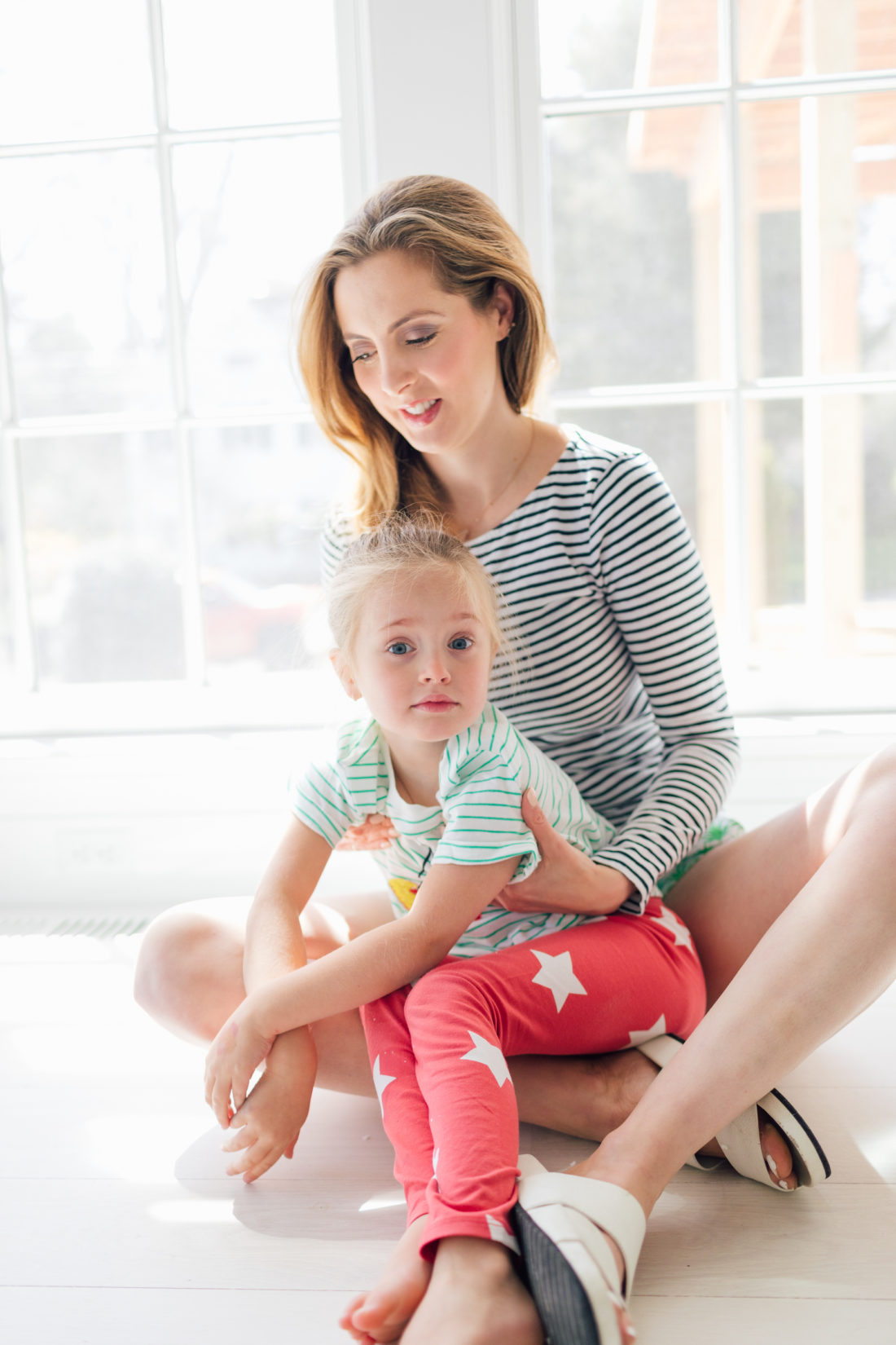 Eva Amurri Martino sits with daughter Marlowe on her lap in their new home in Connecticut