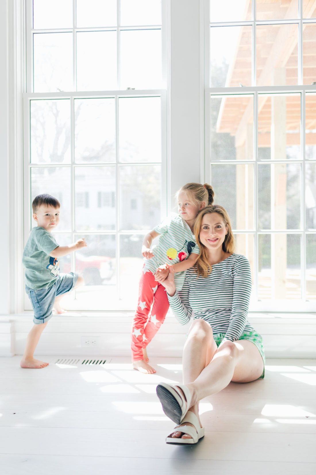 Eva Amurri Martino sits with her kids Marlowe and Major in their new Connecticut home