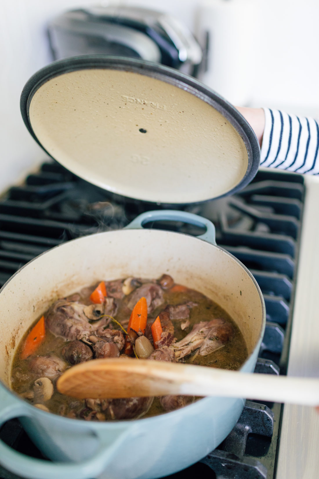 Eva Amurri Martino prepares Coq Au Vin in a Le Creuset Dutch Oven