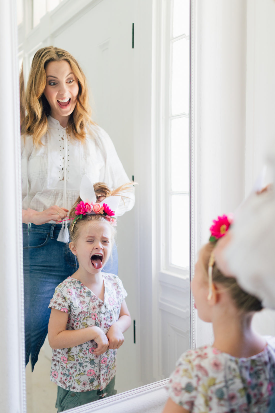 Eva Amurri Martino does her daughter Marlowe's hair while he shares her Woodland Bunny Headband for Easter