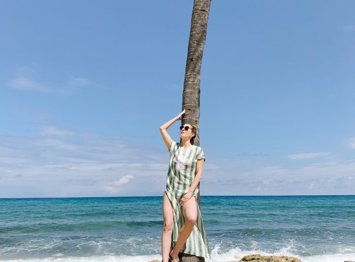 Eva Amurri Martino of Happily Eva After wears a Tory Burch striped bathing suit on her family trip to Jamaica