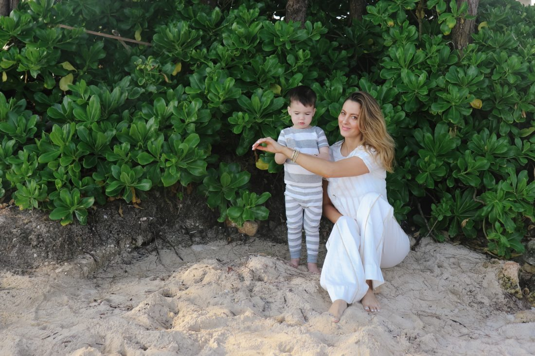 Eva Amurri Martino plays with her son Major on the beach in Connecticut