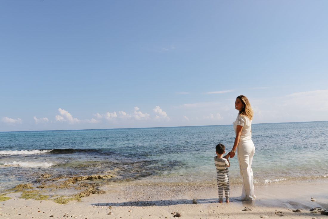 Eva Amurri Martino stands on the beach in Connecticut with her son Major