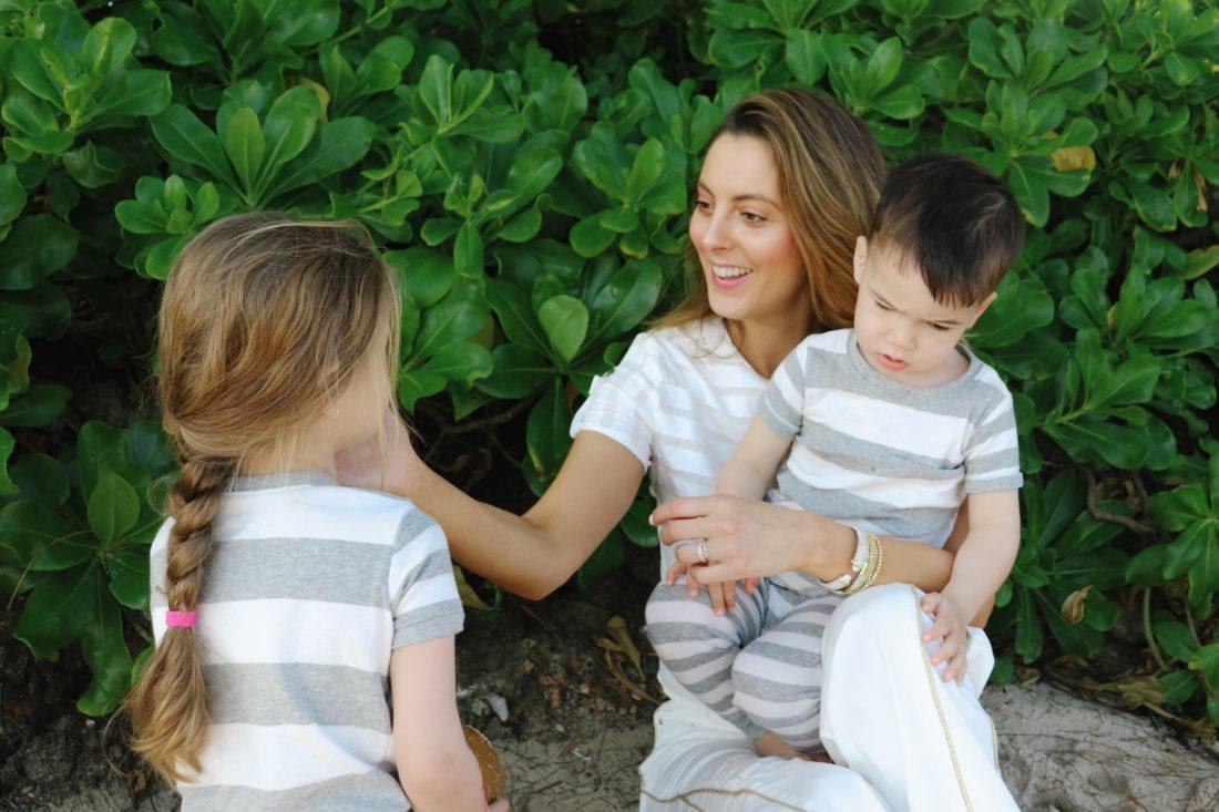 Eva Amurri Martino plays with her kids on the beach in Jamaica