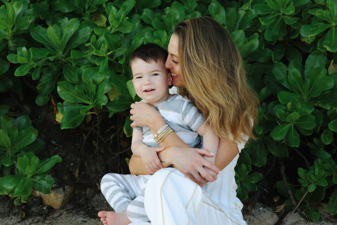 Eva Amurri Martino cuddles her son Major on the beach in Jamaica