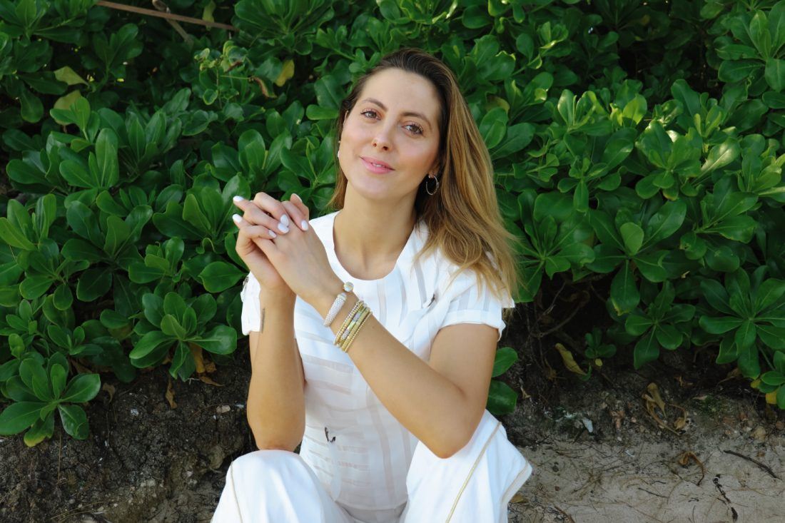 Eva Amurri Martino wears Lagos on the beach in Connecticut