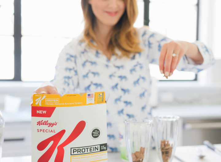 Eva Amurri Martino of Happily Eva After sprinkles Special K Ancient Grains in a parfait