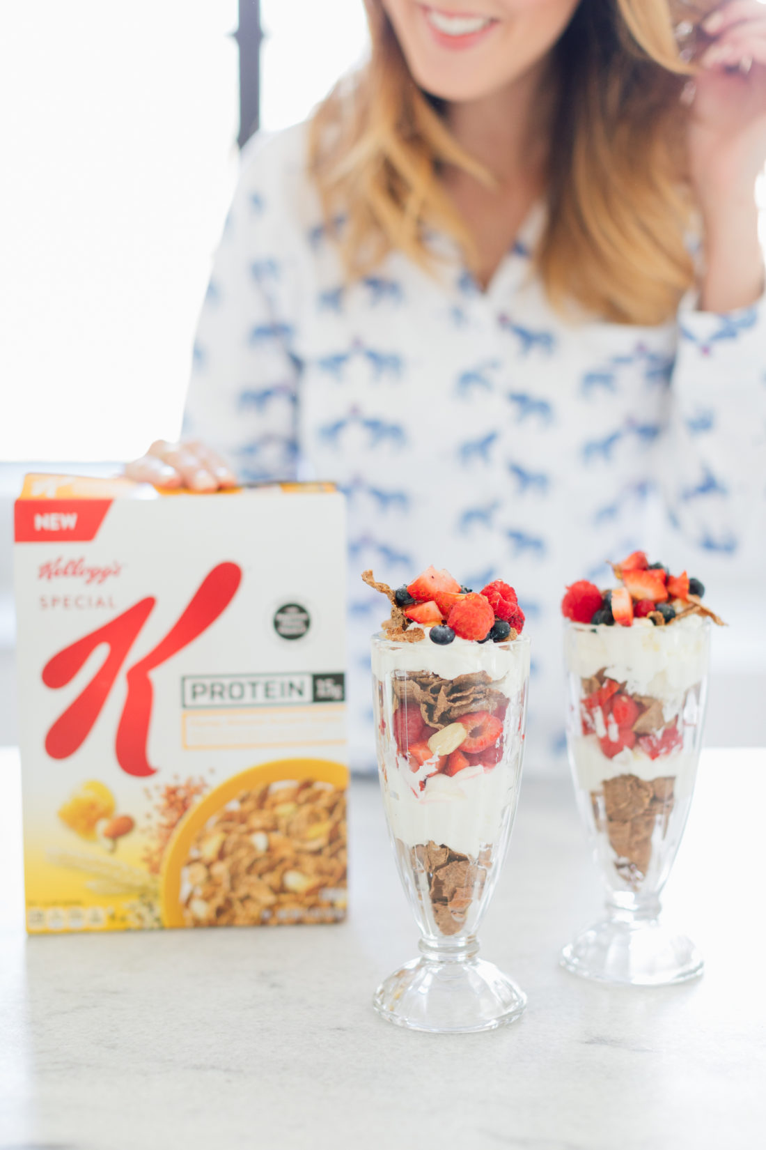 Eva Amurri Martino of Happily Eva After shows off her yogurt parfaits with Special K Ancient Grains