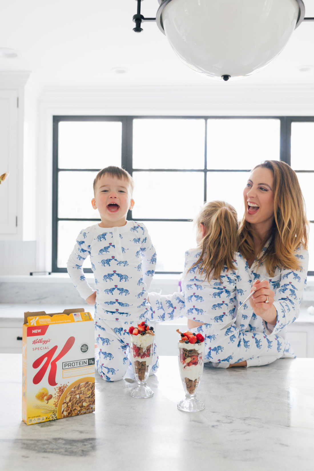 Eva Amurri Martino of Happily Eva After and kids Marlowe and Major enjoy yogurt parfaits for breakfast