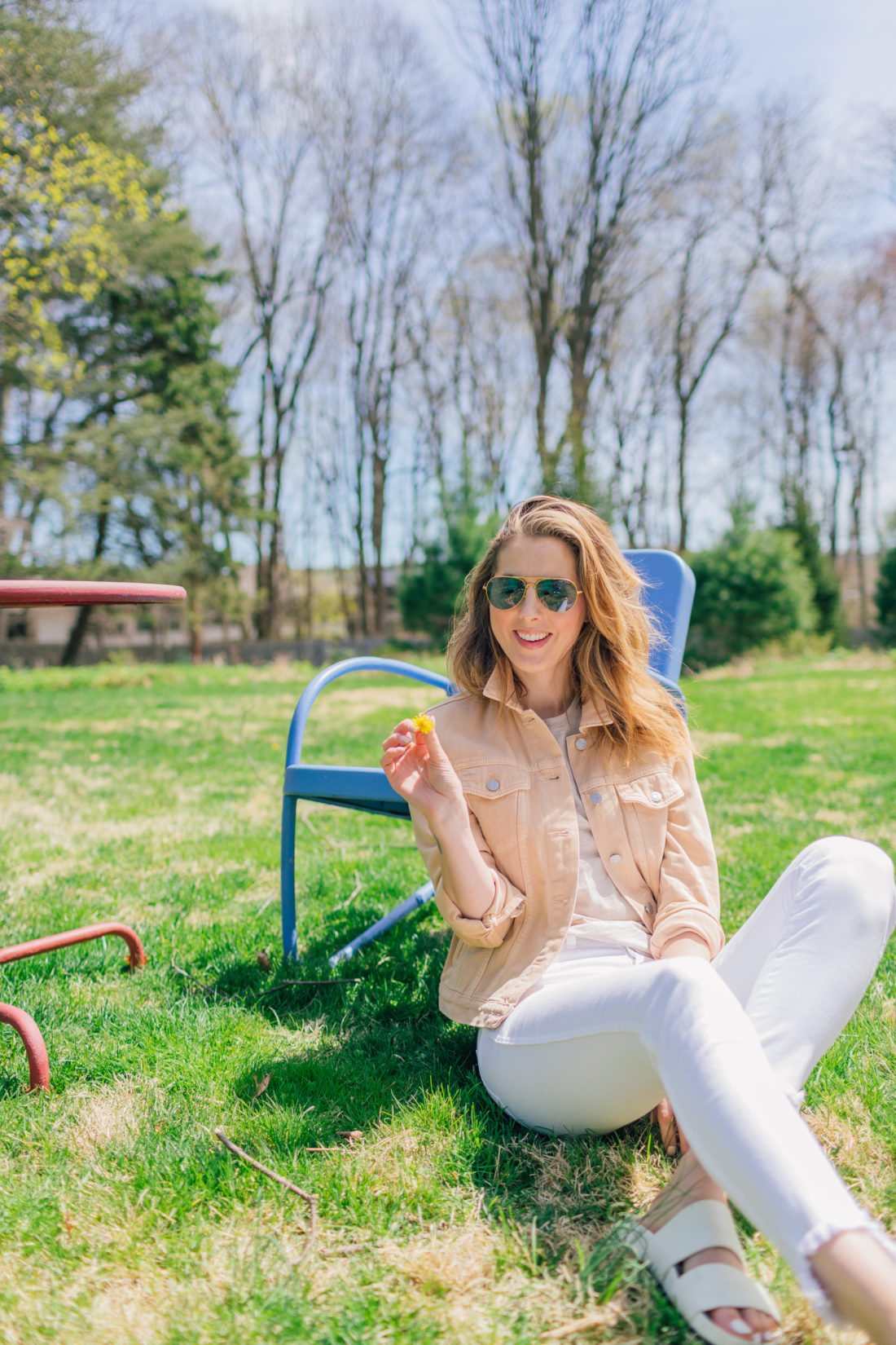 Eva Amurri Martino of Happily Eva After sits in her garden shares her favorite nude colored pieces for spring