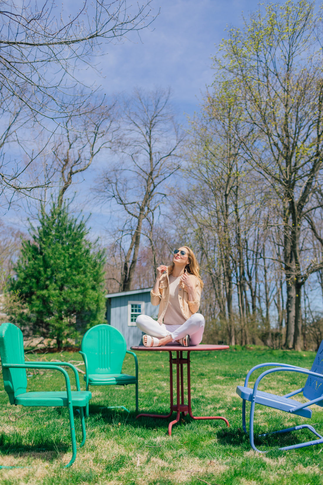 Eva Amurri Martino of Happily Eva After sits in her garden and shares her favorite nude colored pieces for spring