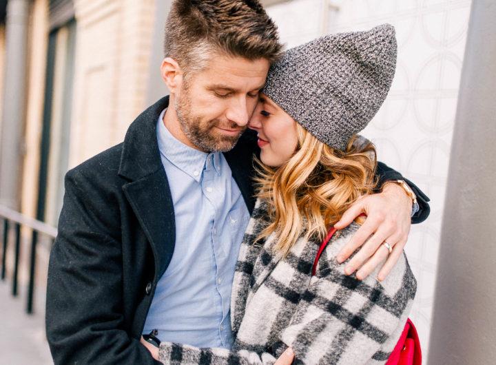 Eva Amurri Martino and her husband Kyle hug each other in New York City