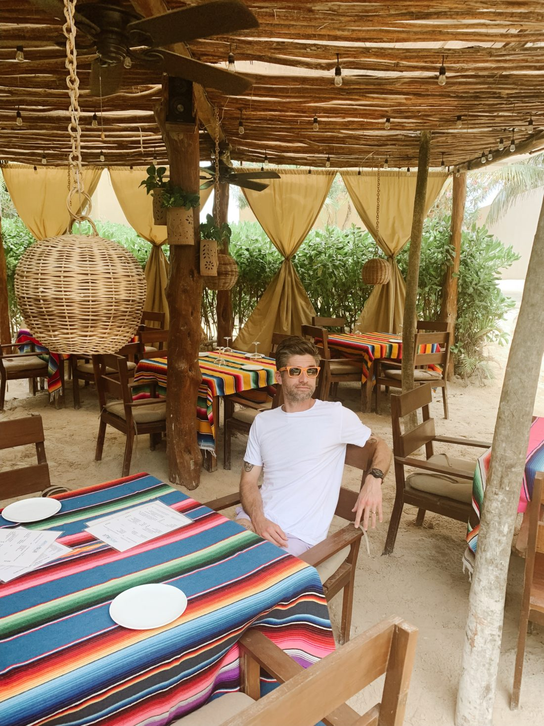 Eva Amurri Martino's Husband Kyle enjoying lunch in Tulum Mexico
