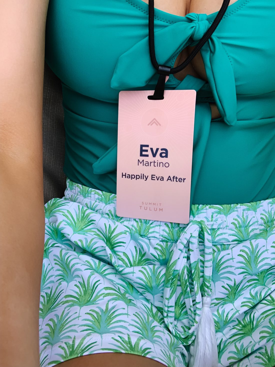 Eva Amurri Martino and her pink branded name tag at Summit Tulum