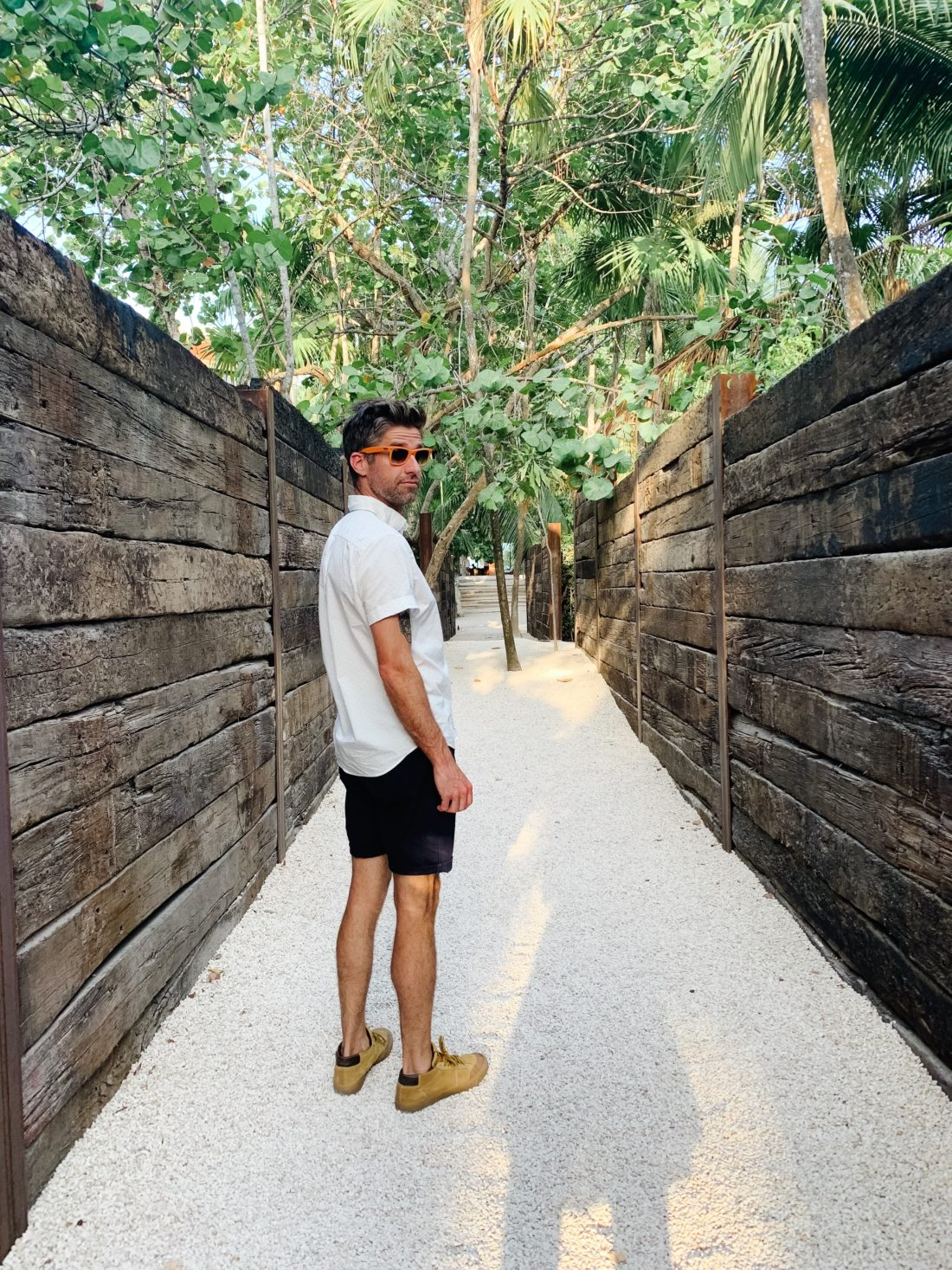 Eva Amurri Martino's Husband Kyle walking in Tulum Mexico