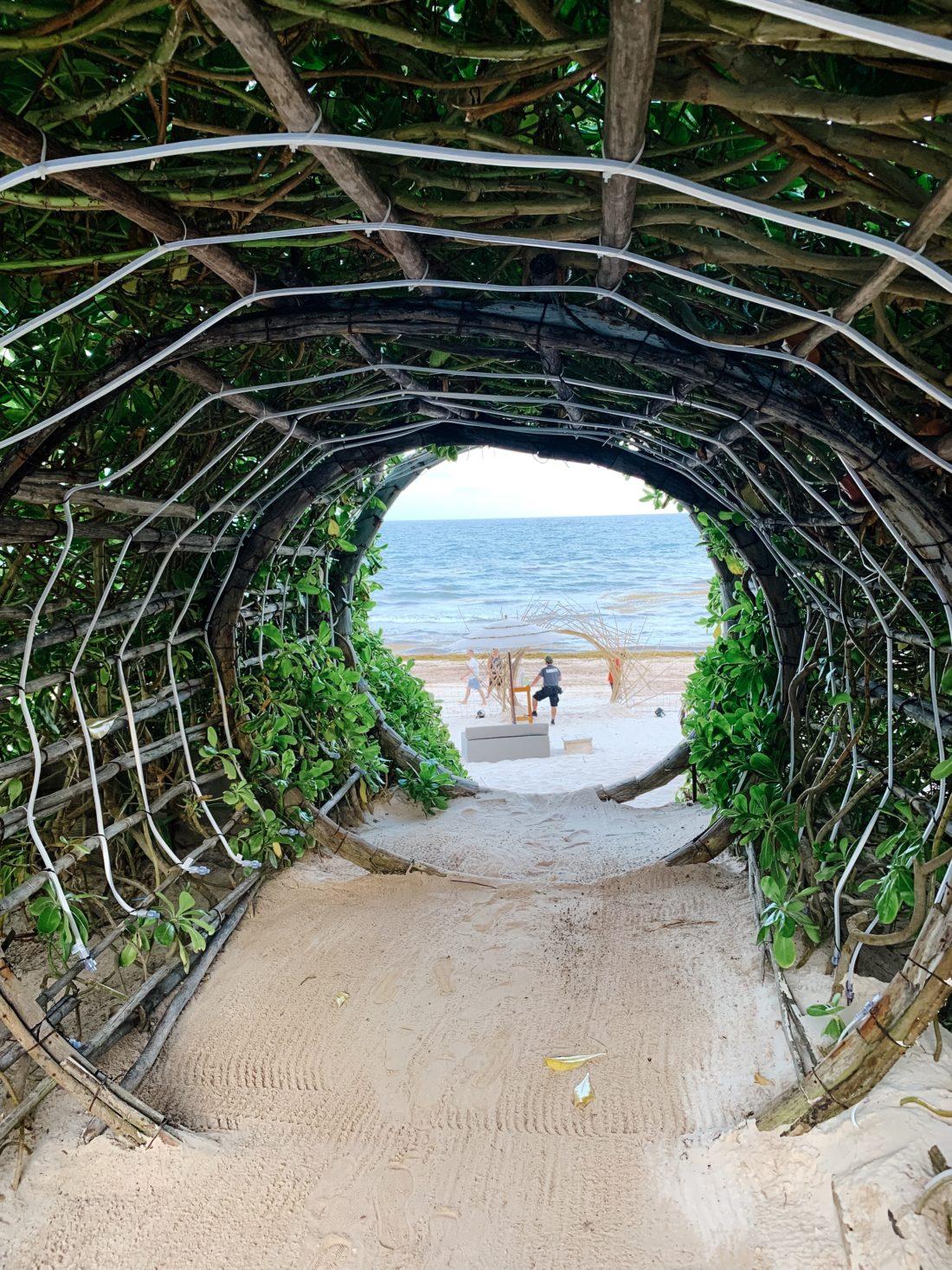 A dramatic beach entrance at Summit Tulum