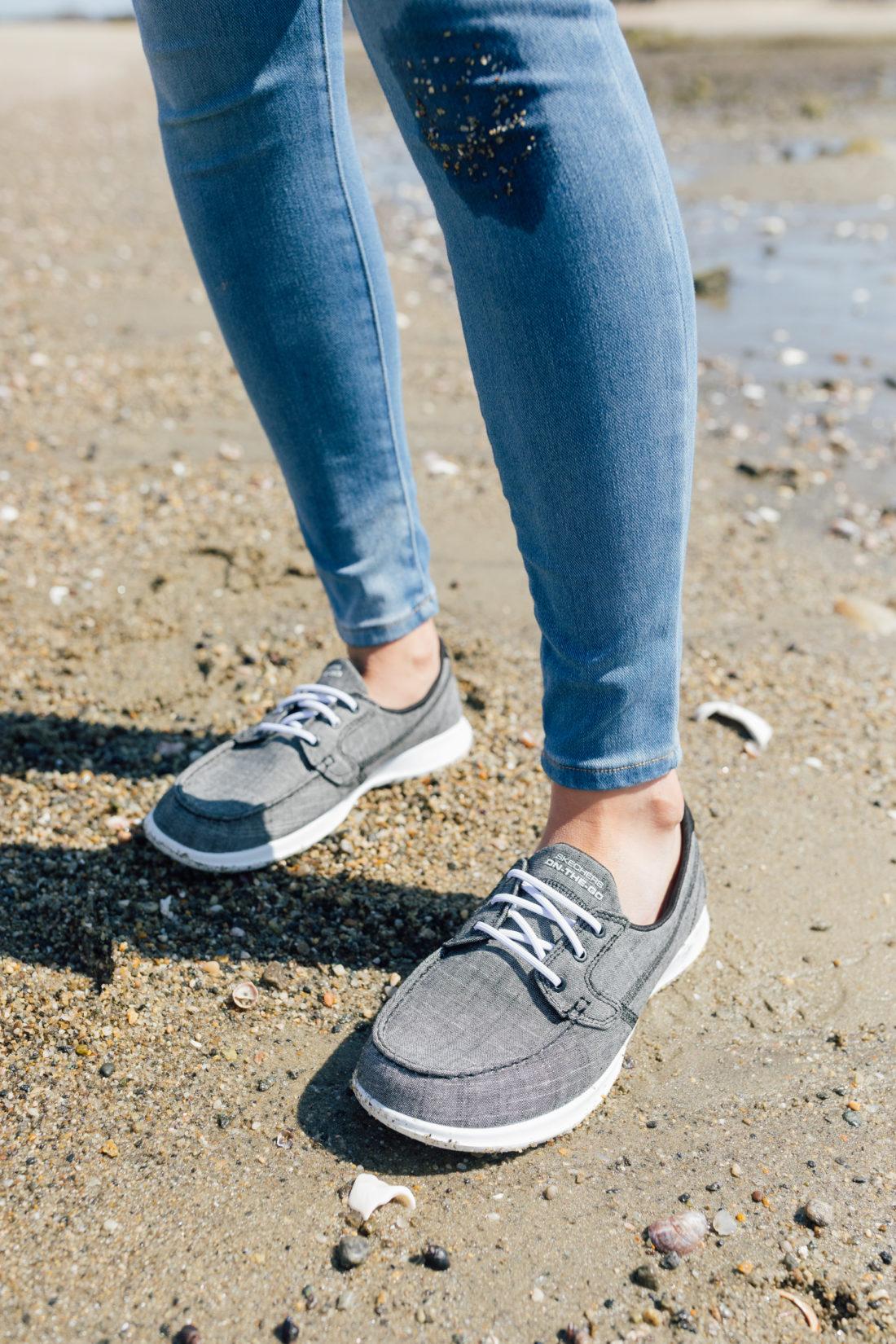Eva Amurri Martino of Happily Eva After wears Skechers GoWalk Lite Isla Boat Shoe on the beach