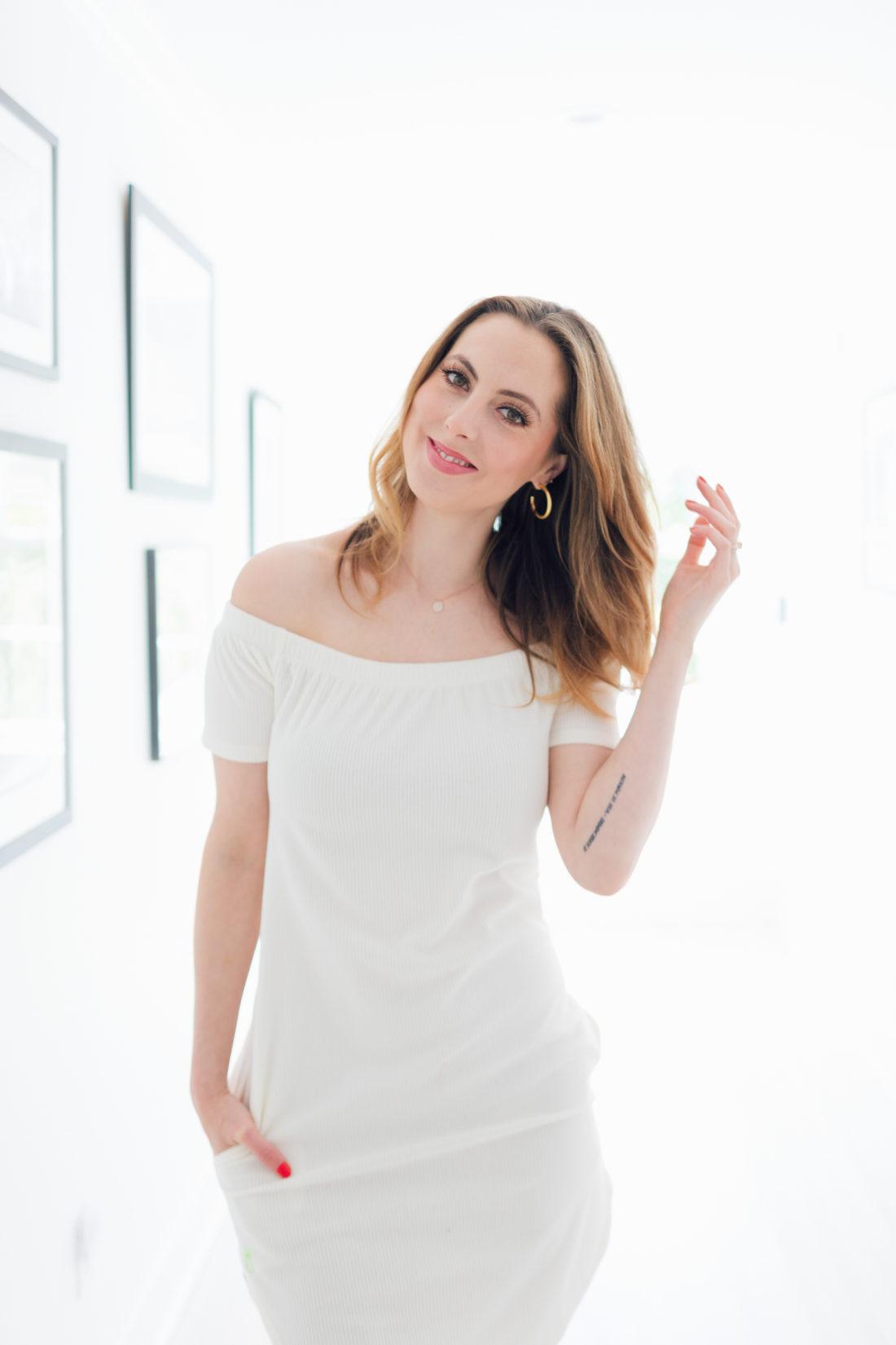 Eva Amurri Martino wears a little white dress for spring