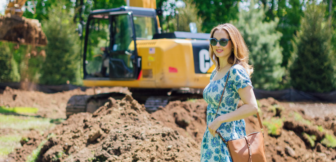 Eva Amurri Martino walks thorugh the construction in backyard of her home