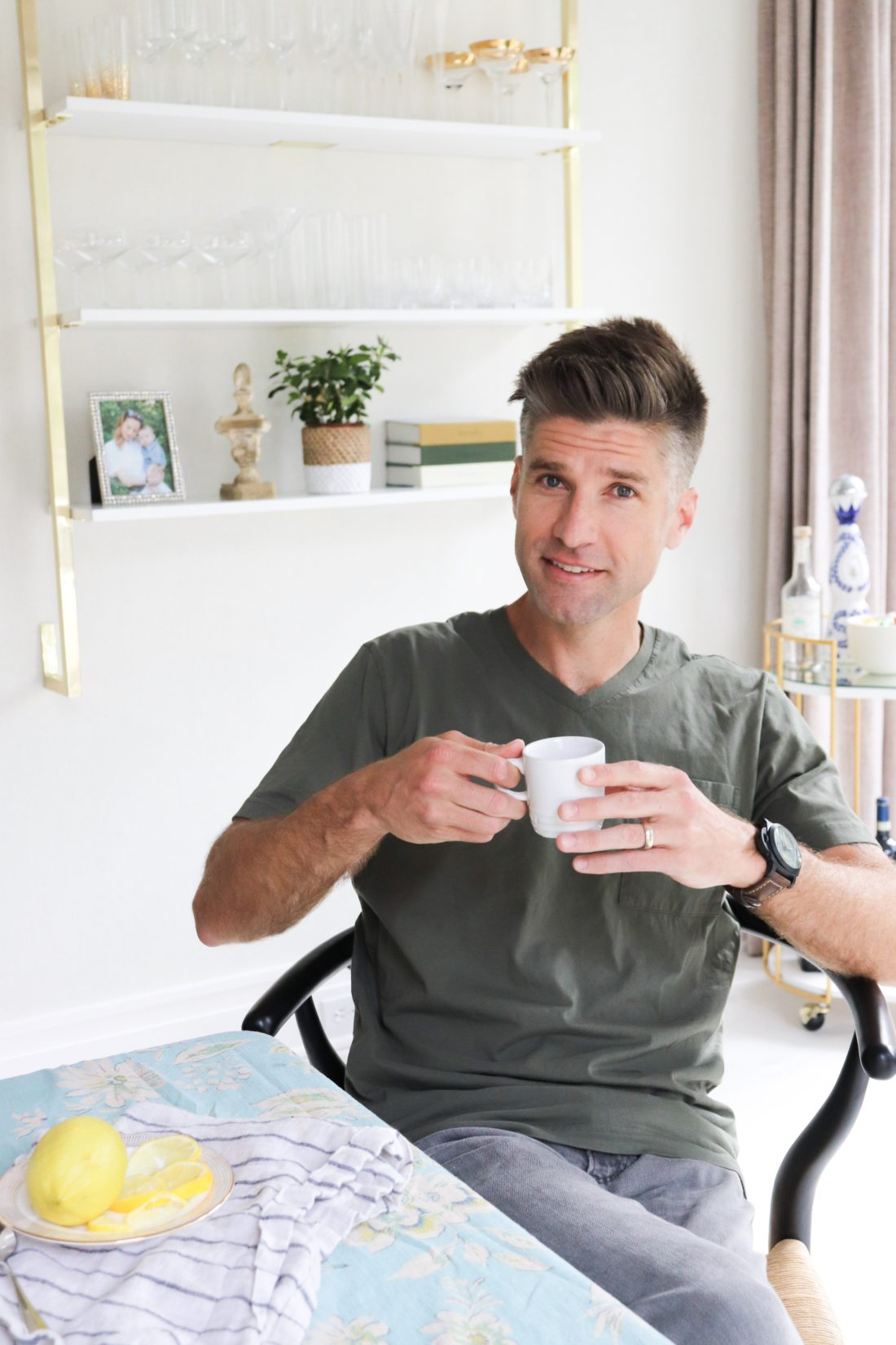 Kyle Martino holds a Le Cruesset espresso cup