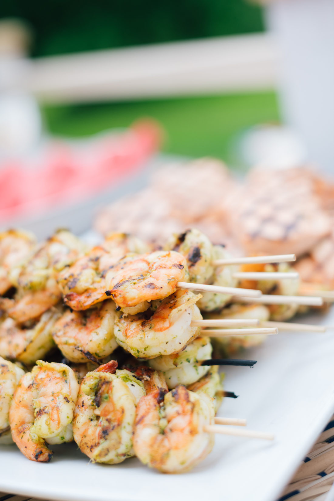 Shrimp skewers at Eva Amurri Martino's summer clambake provided by Fjord Fish Market