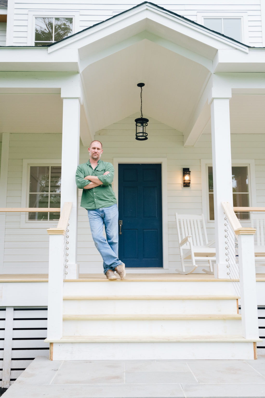 Chris O'Dell from OLiving Experience in front of his new build in Westport CT