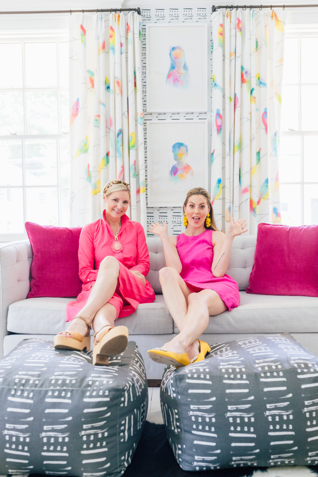 Eva Amurri Martino sits on a West Elm couch with her interior designer Prudence Bailey from Prudence Home & Design