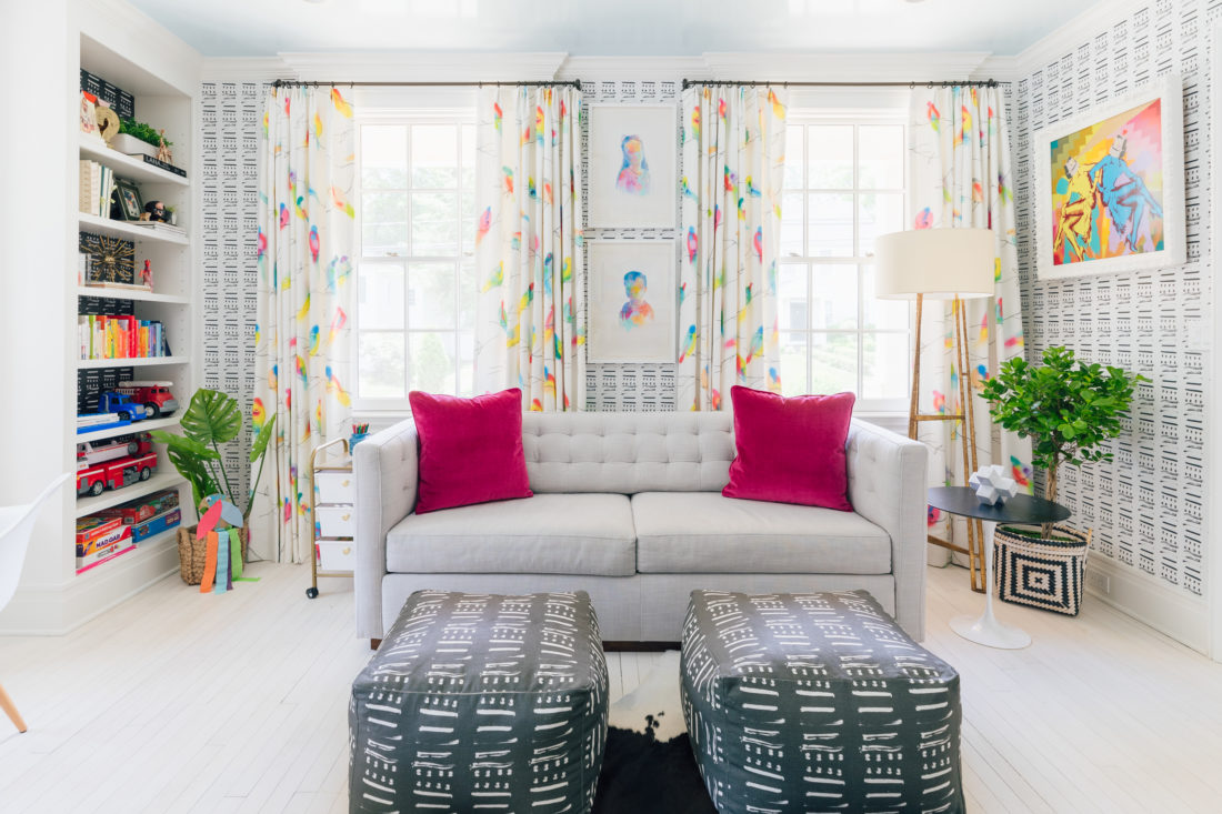 Colorful drapery from Flat Vernacular on the windows of the playroom in Eva Amurri Martino's Westport CT home