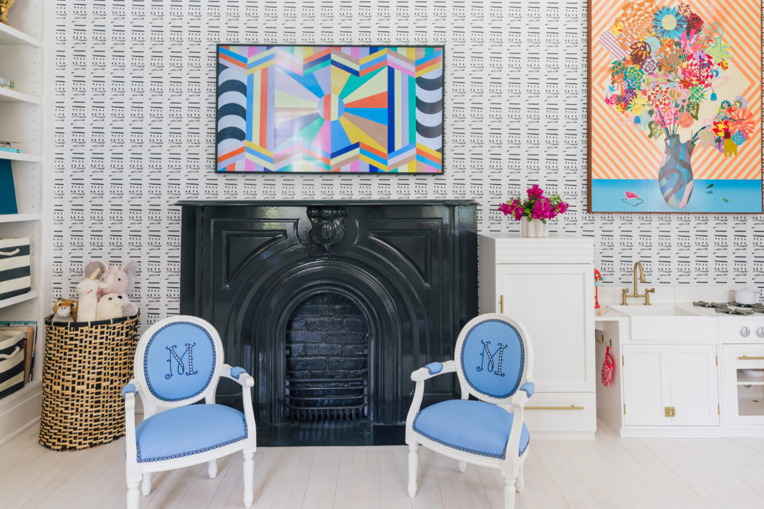 Custom Little Sits chairs beneath a Samsung Frame TV in the playroom of Eva Amurri Martino's Westport CT home