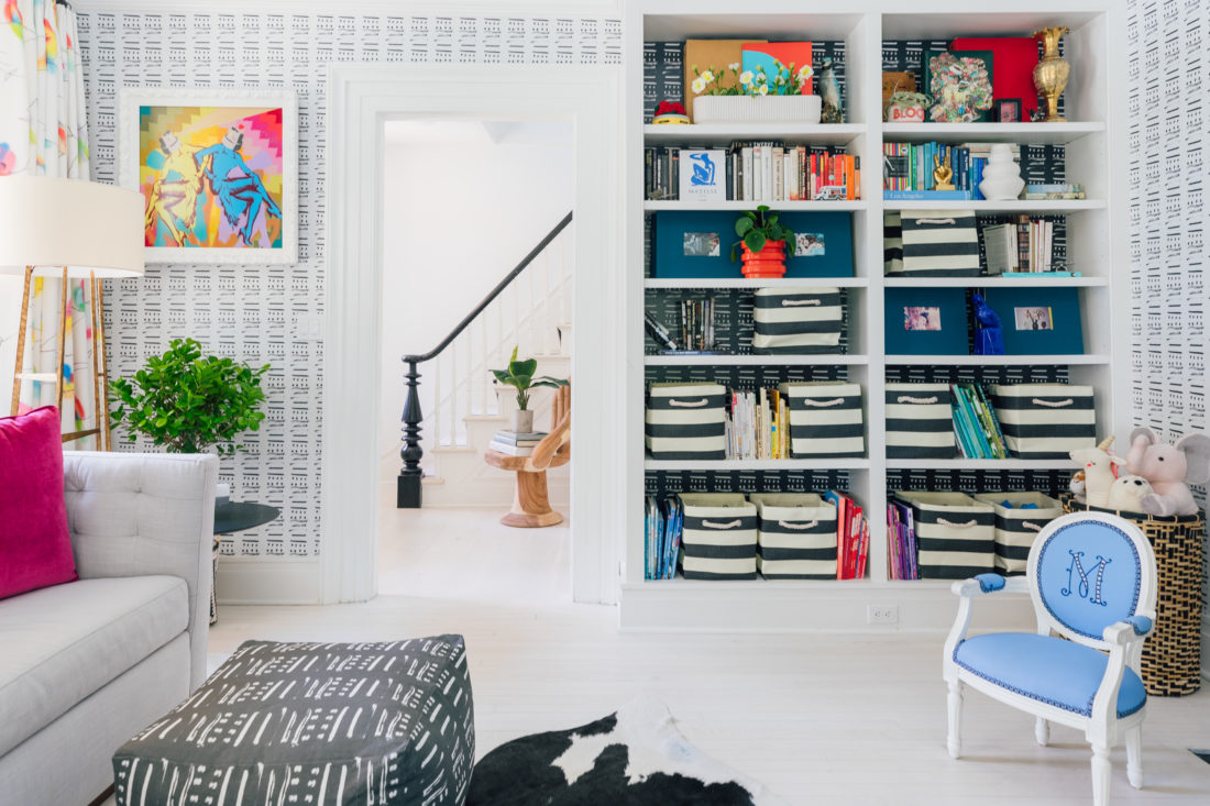 Bookcases in the playroom of Eva Amurri Martino's newly renovated Westport CT home