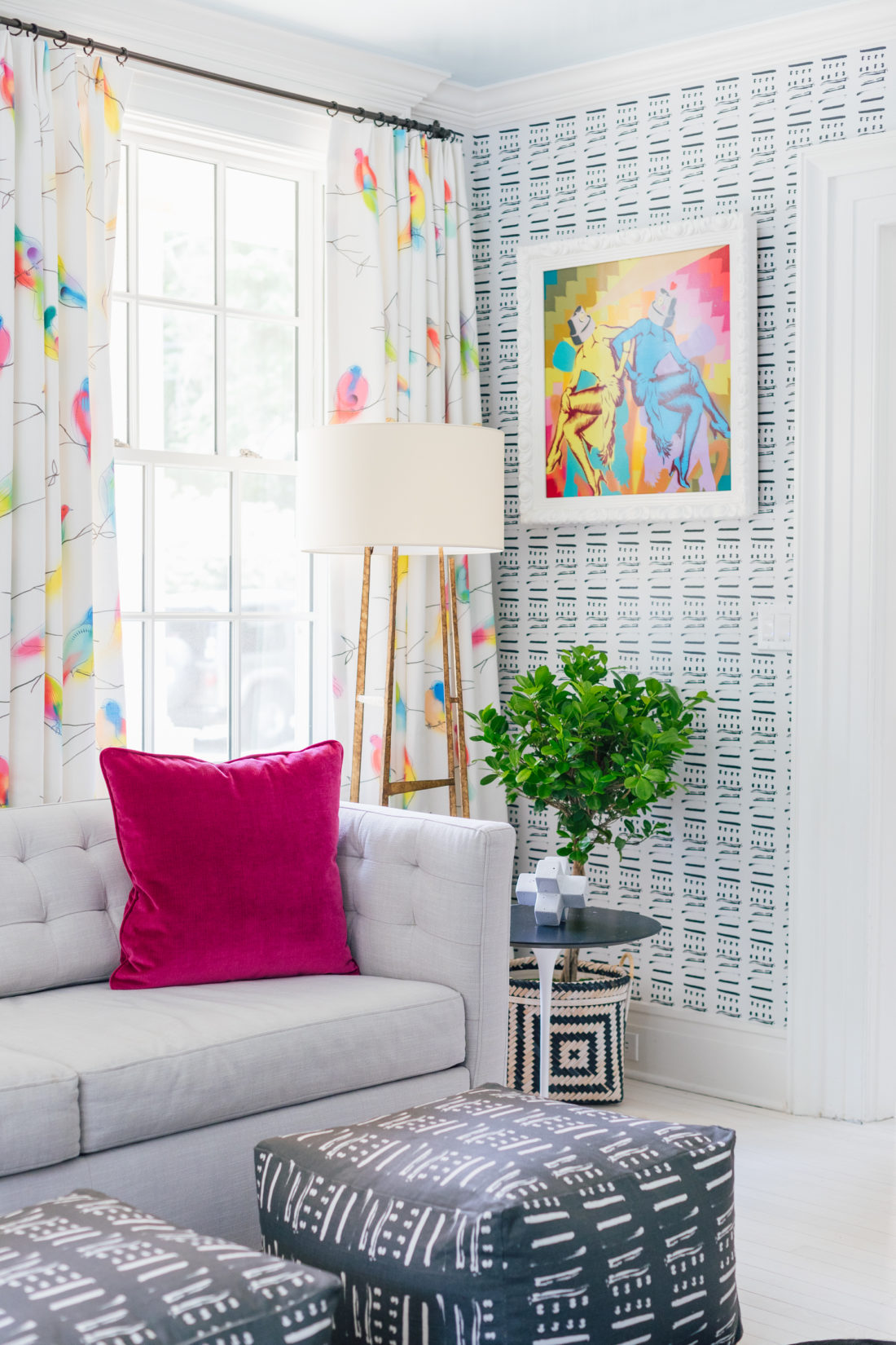 Abstract Kerri Rosenthal wallpaper alongside colorful window drapery from Flat Vernacular in the playroom of Eva Amurri Martino's Westport CT home