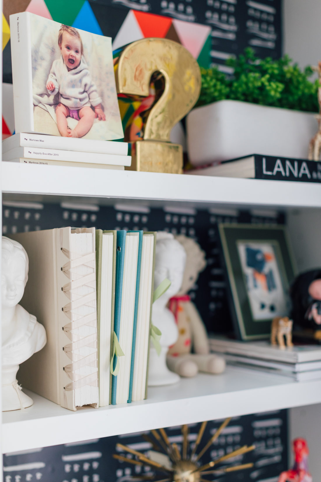 Details on the shelves of the playroom in Eva Amurri Martino's newly renovated Westport CT home