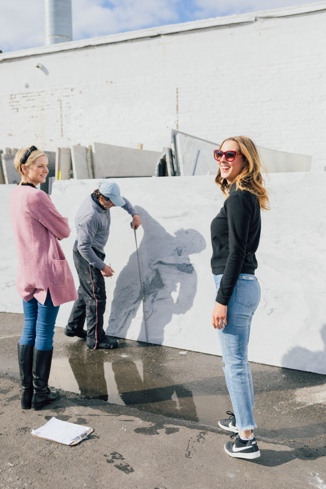 Eva Amurri Martino and interior designer Prudence Bailey pick out marble for Eva's historic Westport home