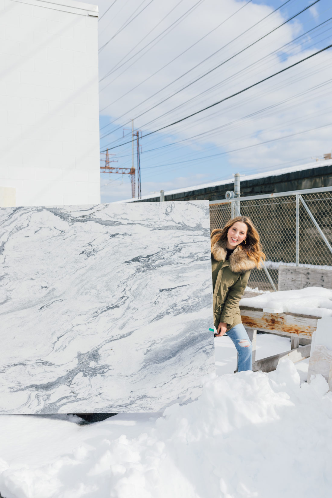 Eva Amurri Martino picks out marble for Eva's historic Westport home