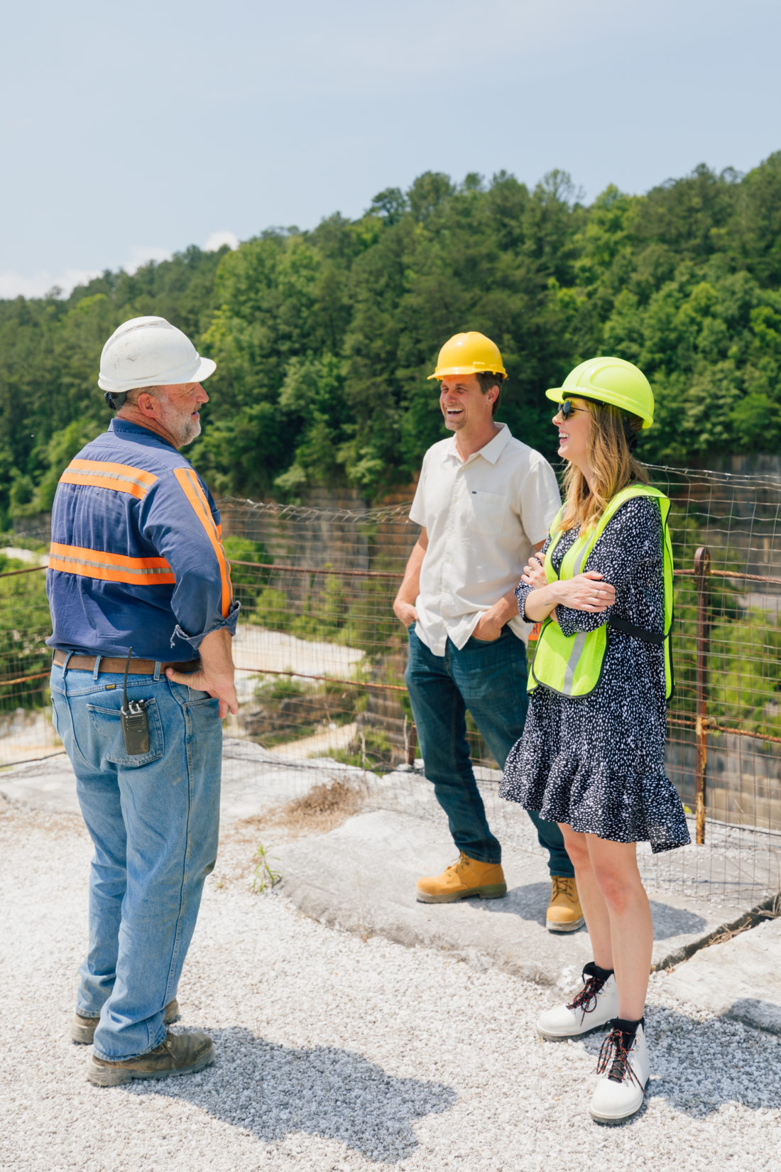Eva Amurri Martino and Steve Shrenk of Polycor at the Polycor quarry in Georgia