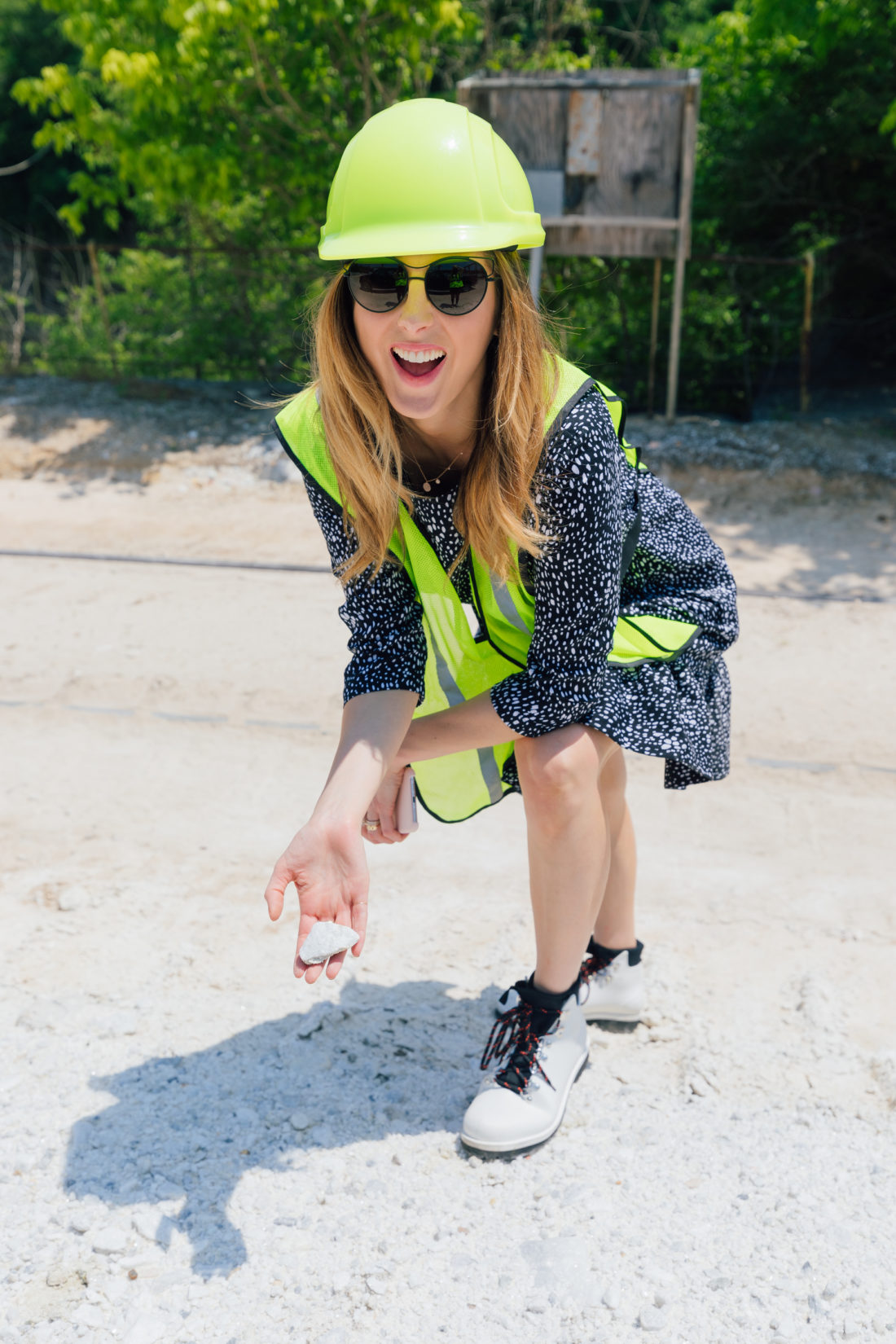 Eva Amurri Martino holds a small slab of marble at the Polycor quarry in Georgia