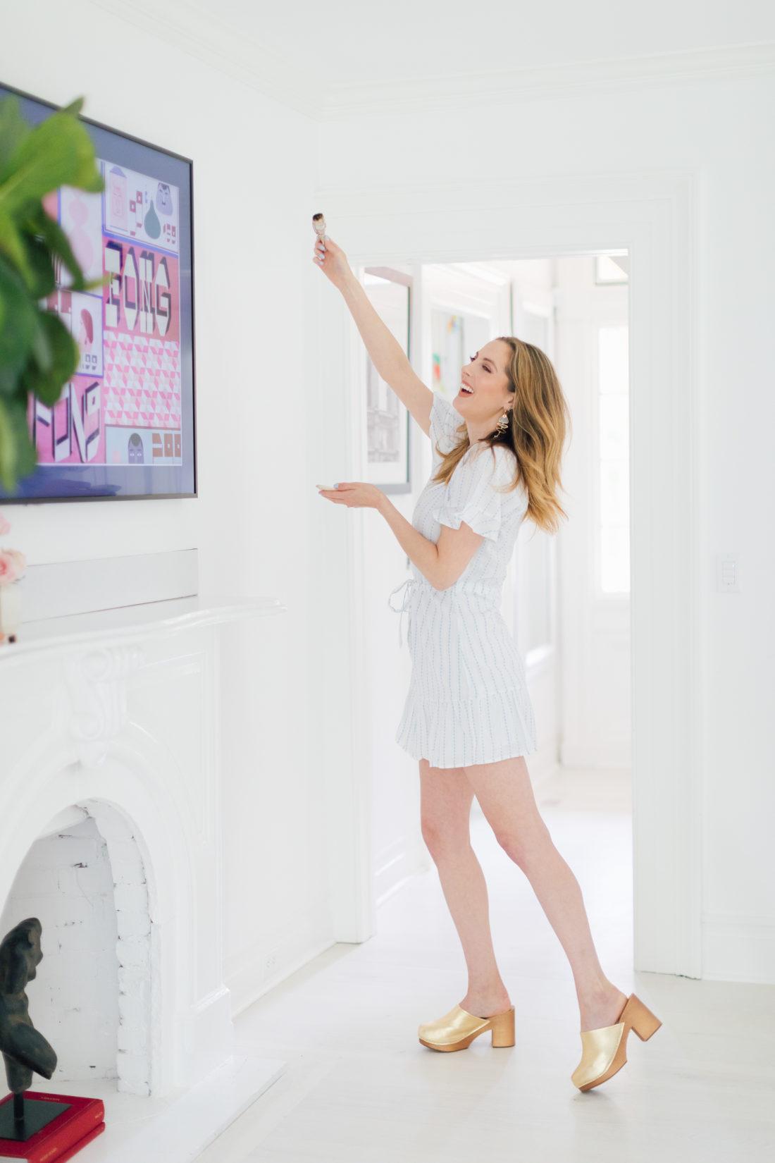Eva Amurri Martino lighting sage to cleanse the energy in her Westport CT home