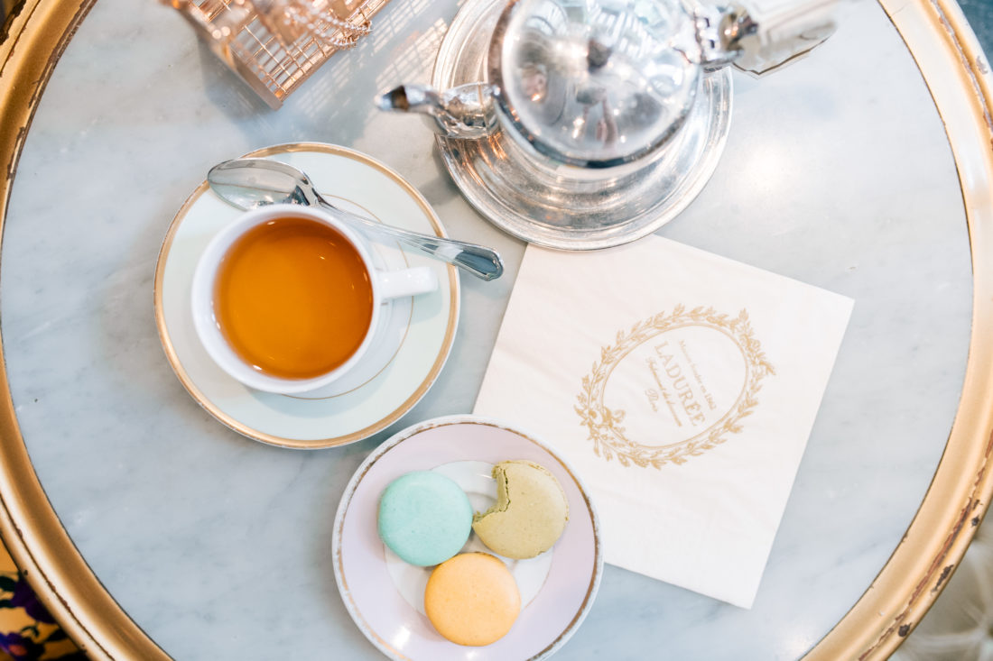 A tablescape of instagramable food in NYC from Ladurée