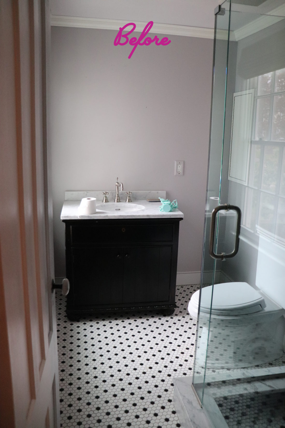 A 'before' image of Major James Martino's bathroom prior to renovation