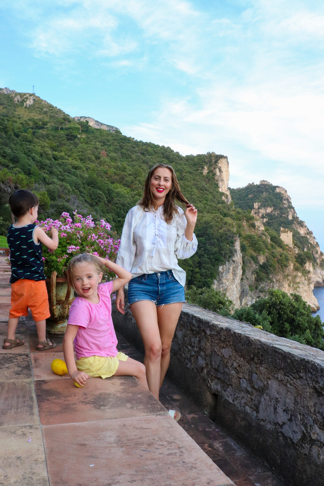 Eva Amurri Martino on the Amalfi coast with her children Marlowe and Major