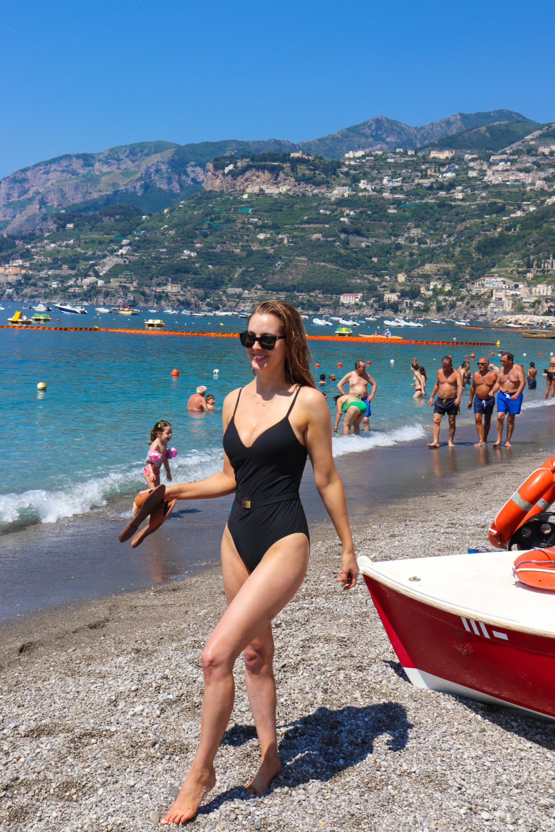Eva Amurri Martino on the beach in Amalfi