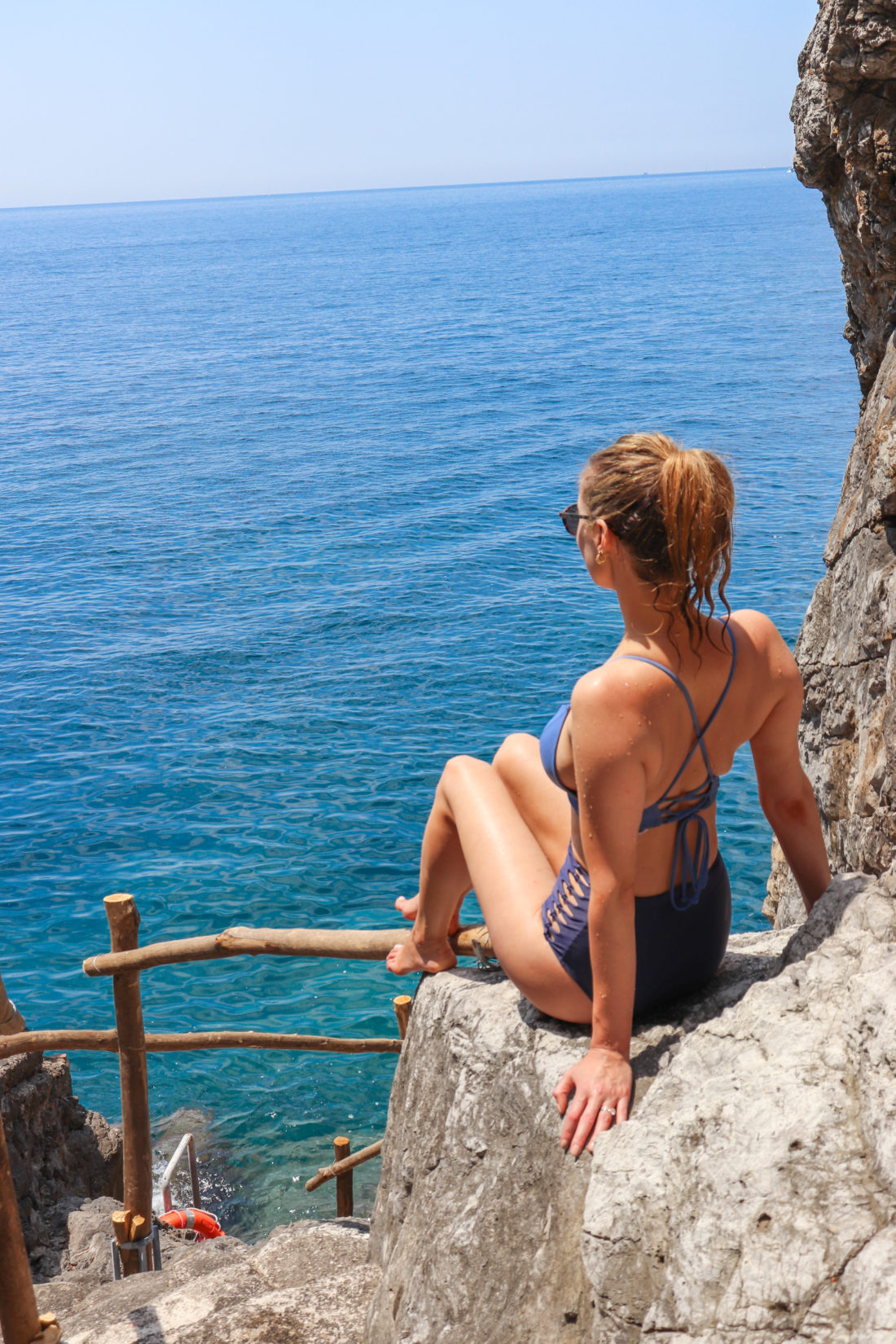 Eva Amurri Martino looks off the coast of Amalfi in a bikini